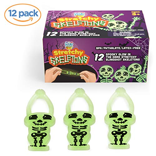 Stretchy Toy Skeleton Slingshots for Kids (12-Pack) Sticky Glow-in-the-Dark | Rubber Finger Fling Launchers | Halloween and Birthday Party Favors | Safe for Ages 3 and Up -