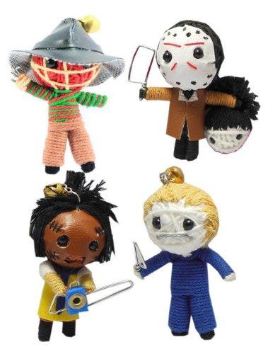 Horror Slasher Set of 4 x Voodoo String Doll Keychain Keyring Ornament (Charm Voodoo Dolls)