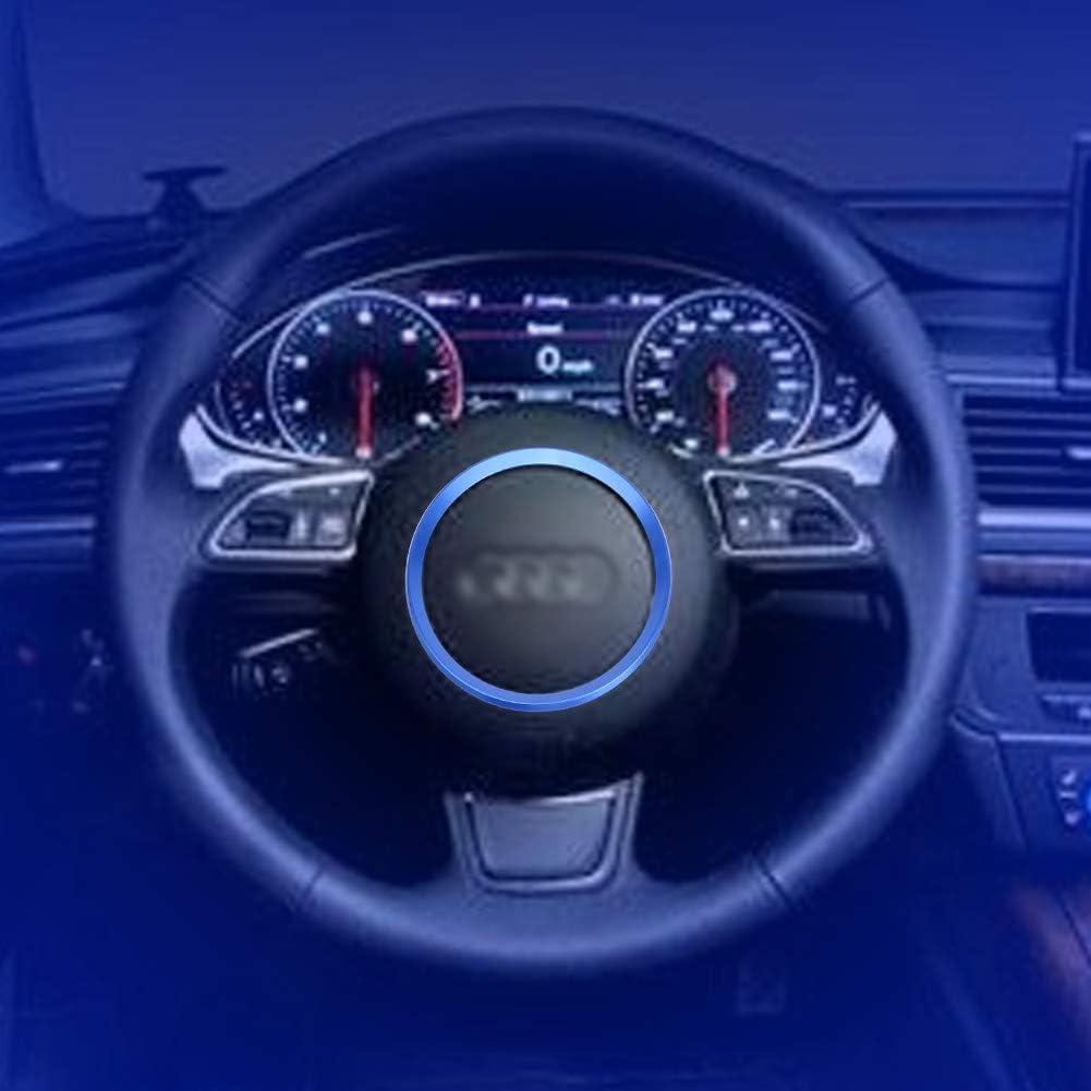 Fydun Ajuste De La Cubierta Del Volante Azul Decoraci/óN De Coche Aleaci/óN De Aluminio Del Coche Ajuste Del Protector De La Cubierta Del Anillo Del Volante Para A1 A3 A4 A5 A6 Q3 Q5