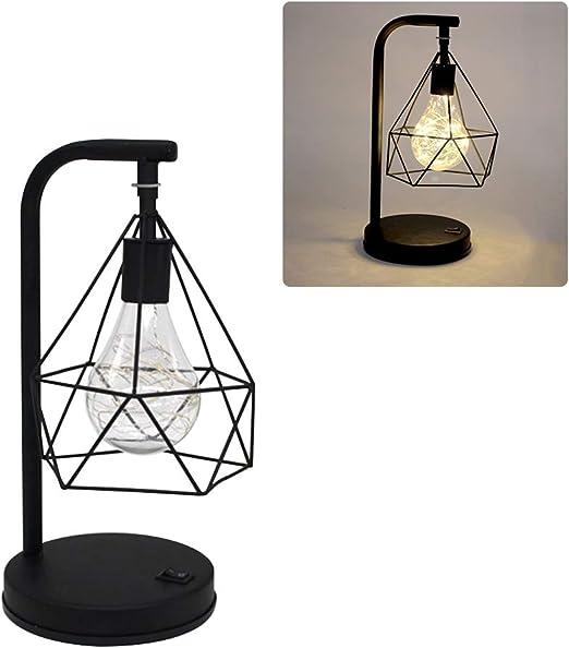 Lámpara de mesa vintage, funciona con pilas, para escritorio, jaula de metal, E27, jaula de hierro, iluminación para cocina, dormitorio, salón, restaurante, hotel bar: Amazon.es: Iluminación
