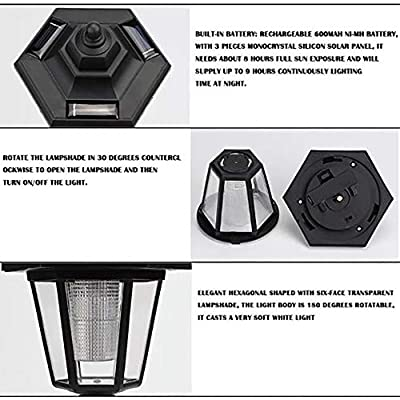 Outdoor Solar Power Lights,MoSunx Lamp Black Hexagonal LED lamp Wall Landscape Mount Garden Fence Lights