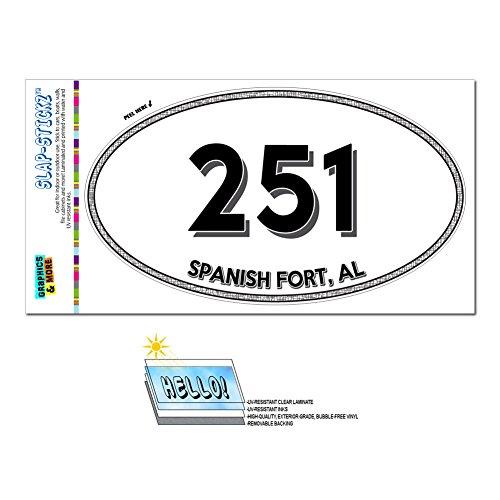 Graphics and More Area Code Euro Oval Window Laminated Sticker 251 Alabama AL Silverhill - Wilmer - Spanish - Al Spanish Fort
