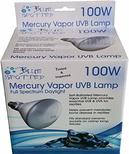2PK Blue Spotted Mercury Vapor Lamp TI (100 Watt) - Provides Essential UVB & UVA For Reptiles- Tested & Inspected & 100% Satisfaction Guarantee