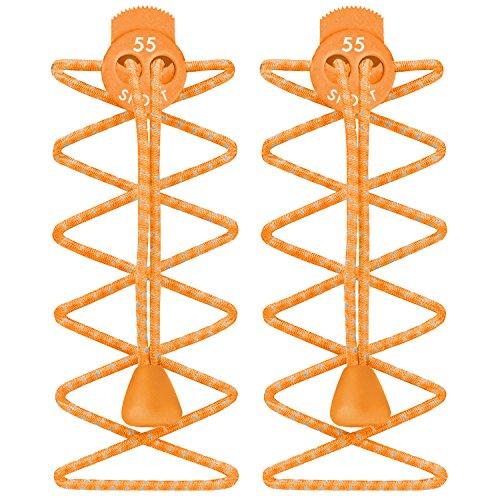 Sports Marathon Running Elastic Locking shoe Laces Shoelaces Triathlon Orange