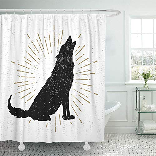 Emvency Shower Curtain Set Waterproof Adjustable Polyester Fabric Coyote Halloween with Wolf Silhouette Badge Sticker Vintage Stamp Drawn Sketch 60 x 72 Inches Set with Hooks for Bathroom -