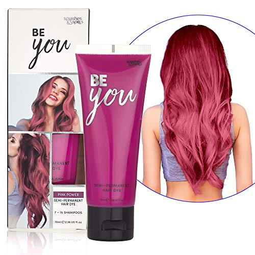 Semi-Permanent Pink Hair Dye - Vibrant 2.36 Oz. Tubes Temporary Hair Color - Ammonia and Peroxide Free -Vegan and 100% Cruelty-Free Toner - Lasts for 7-15 Shampoos - by Splashes and Spills (Semi Permanent Hair Color Without Peroxide Or Ammonia)