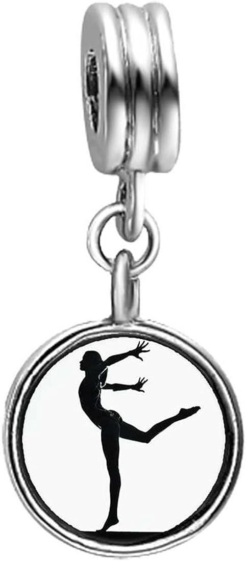 GiftJewelryShop Olympics Female do Gymnastic Sapphire Crystal September Birthstone Flower Dangle Bead Charm Bracelets