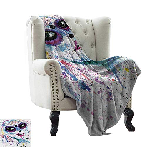 LsWOW Dog Blanket Girls,Grunge Halloween Lady with Sugar Skull Make Up Creepy Dead Face Gothic Woman Artsy,Blue Purple Colorful,Home,Couch,Outdoor,Travel Use 70