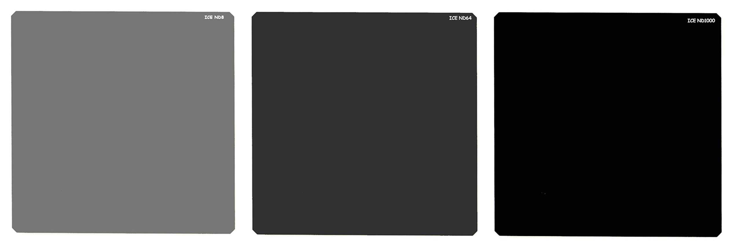 ICE 100mm Filter Set ND1000 ND64 ND8 & Storage Wallet Square Neutral Density Optical Glass fits Cokin Z