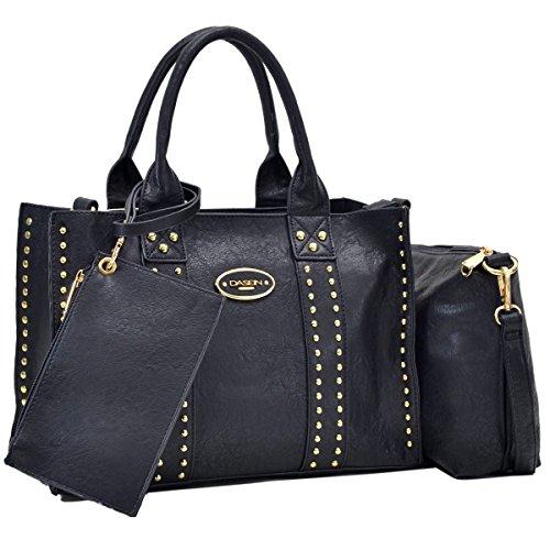 Women Handbag 3 Pieces Set Leather Shoulder Bag Satchel Purse 3 in 1 Simple Design Black