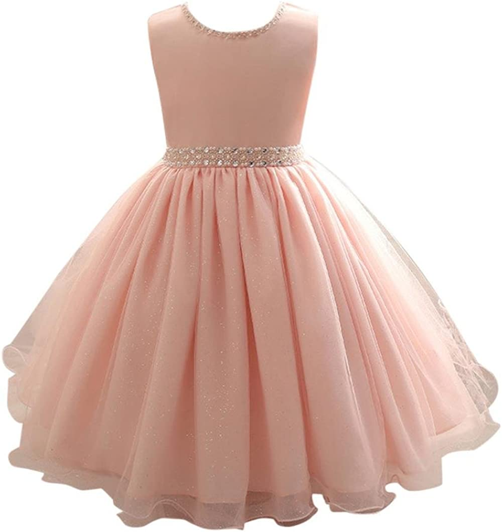 Kids Flower Girl Bow Princess Dress for Girls Party Wedding Bridesmaid Gown O81