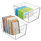 mDesign Plastic Storage Bin with Handles for Office, Desk, Book Shelf, Filing Cabinet - Organizer...