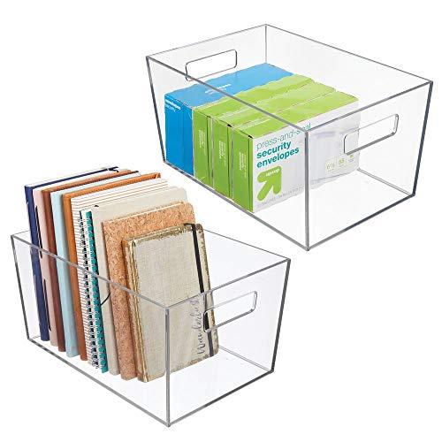 mDesign Plastic Storage Bin with Handles for Office, Desk, Book Shelf,...