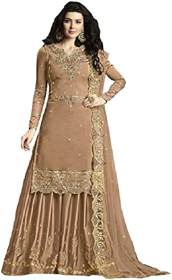 Amazon Com Delisa New Indian Pakistani Eid Ramzan Special Designer Georgette Sharara Plazzo Style Salwar Suit For Women 30010 Clothing