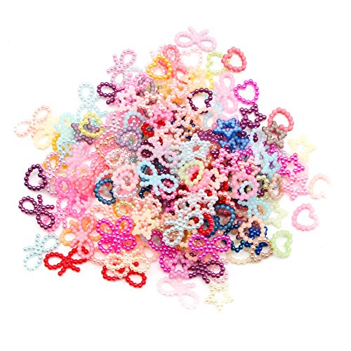 WSSROGY 200 Pcs Mixed Round Pearls Bow Rhinestone Resin Flatback Craft Slime Charms Resin Flatback of Slime Beads for Craft Making DIY Decoration Scrapbooking Craft Accessory