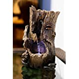 Alpine Corporation Rainforest Tabletop Fountain with LED Lights - Indoor/Outdoor Water Fountain Décor