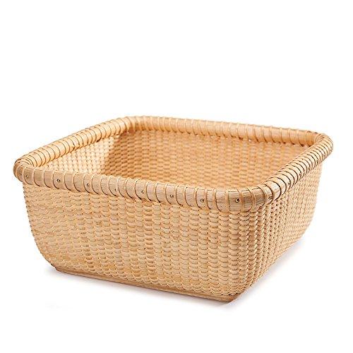 Teng Tian Nantucket Baskets Napkin Baskets Woven Basket Rattan Basket Storage Basket Sewing Baskets longaberger Wicker Nested Party Baskets Sewing Storage Hand-Woven Rattan Square Tray (Basket Antique Sewing)