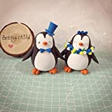 Cake Penguin- Custom Bride and Groom Wedding Cake Toppers, engagement topper figures