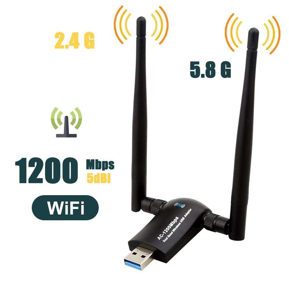 1200Mbps Wireless USB WiFi Adapter, QGOO WiFi Adapter,AC1200 Dual Band 802.11 ac/a/b/g/n,2.4GHz/300Mbps 5GHz/867Mbps High Gain Dual 2 X 5dBi Antennas Network USB 3.0 for Desktop of Windows by QGOO