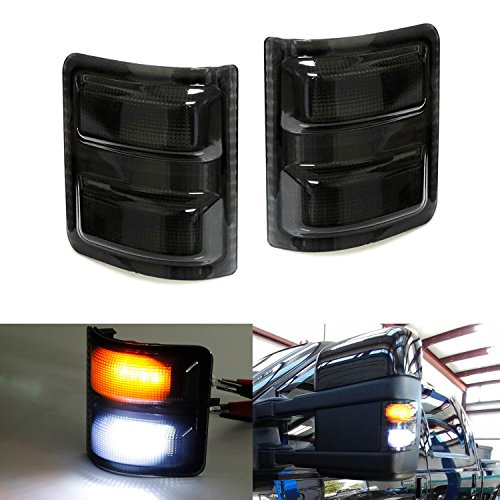 iJDMTOY (2) Smoked Lens White/Amber LED Side Mirror Marker Lights Set For 2008-2016 Ford F-250 F-350 F-450 F-550 Super Duty (White-Parking Light, Amber-Blinker Turn - Lenses Recon Mirror Side