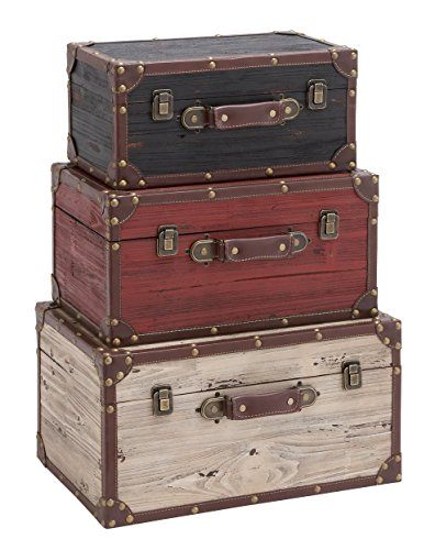 Benzara Wooden and Leather Trunk - Black, Red, White (Set of 3) by Benzara (BENZD)