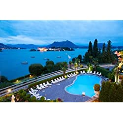 Aerial view of a swimming pool at hotel Villa e Palazzo Aminta Isola Bella Stresa Lake Maggiore Italy Poster Print by Panoramic Images (36 x 24)