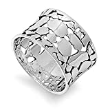 Wide Cracked Nugget Wedding Ring New .925 Sterling Silver Modern Band Sizes 6-10