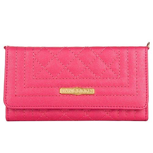 Quilt Handbag Purse (Vangoddy Women's PU Leather Diamond Quilt Slim Wallet Purse Case Clutch Handbag w/ Gold Chain Strap for Apple iPhone X / 8 Plus / 7 Plus / Blackberry Keyone / Aurora / DTEK50 / DTEK60 (Magenta))