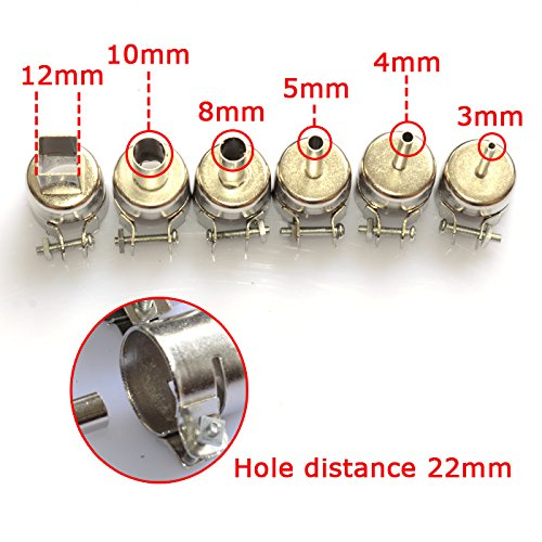 Aihome 6pcs Nozzles for Hot Air Gun Solder Soldering Iron Station Gj-8018lcd 858d 898d 852d 853d 2008d 8508d 992da+ 878ad