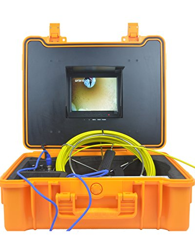 Chimney Inspection (Color Sewer Snake Camera For Plumbing Pipe Inspection with 164 ft Cable, 8 inch Screen, DVR Record, 8G SD Card, LED Adjust, Rechargeable Battery)