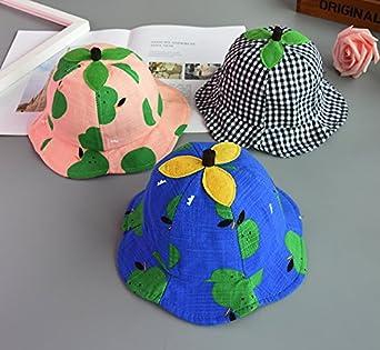 YueLian Unisex Baby Plaid Leaf Summer Beach Sun Bucket Hats