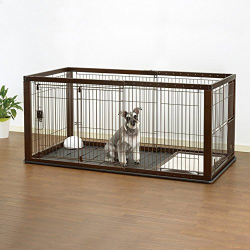 Richell Expandable Pet Crate with Floor Tray, Small, Dark Br