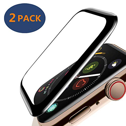 KAMII Apple Watch Series 4 Screen Protector (2 Pack), [3D Full Coverage Tempered Glass] Scratch Resistant 9H Hardness Metal Frame Tempered Glass Screen Protector for Apple Watch Series 4 44mm,Black