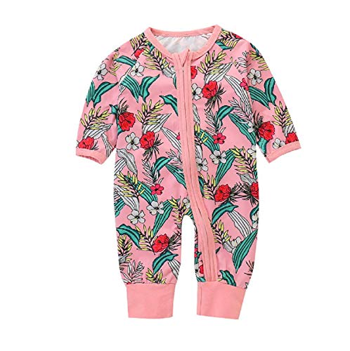 Newborn Baby Girl Floral Pink Footed Zipper Pajama Sleeper Cotton Romper Jumpsuit Playsuit Outfit (70/0-6M, -