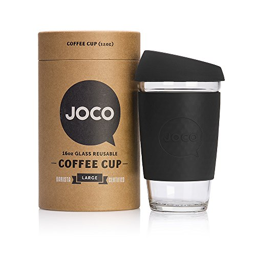 JOCO 16oz Glass Reusable Coffee Cup (Black)