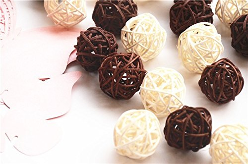 20PCS Mixed Brown White Wicker Rattan Ball Wedding Christmas Party Hanging Decoration Nursery Mobiles (White & Brown)