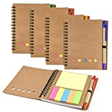 Coopay 4 Pack Spiral Notebook Journal Notepad with Pen in Holder and Sticky Notes, Page Marker Colored Index Tabs Flags (Brown Cover)