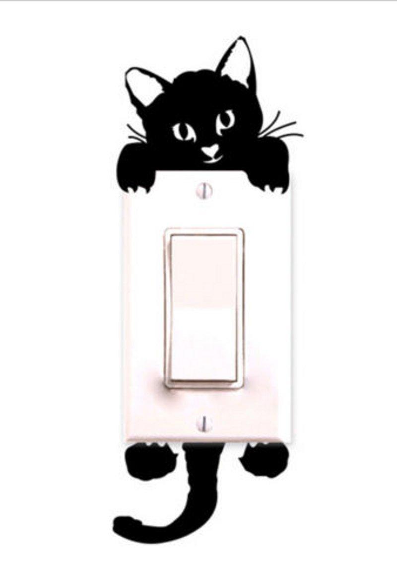 Decalgeek Cat Wall Stickers Light Switch Decor Decals Art Mural Baby Nursery Room