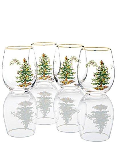 (Spode Christmas Tree Stemless wine Glass Set of 4-473ml, 16OZ)