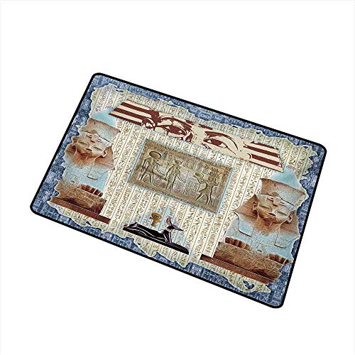 - Egypt Inlet Outdoor Door mat Traditional Hieroglyph Backdrop with Mummy Pyramids and Bastet Collage Art Print Catch dust Snow and mud W15.7 x L23.6 Inch,Taupe Navy