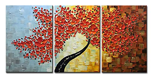 Asdam Art - Orange and Red Tree Wall Art 3D Hand Painted Oil Paintings on Canvas 3 Piece Extra Large Abstract Floral Art Ready to Hang Paintings for Living Room Bedroom Office(20X30 inchx3) -