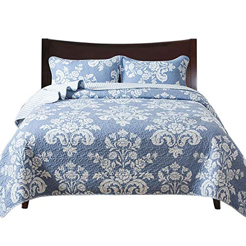 Cotton 3 Piece Blue Floral Wreath Pattern Patchwork Bedspread Quilted Set,Queen