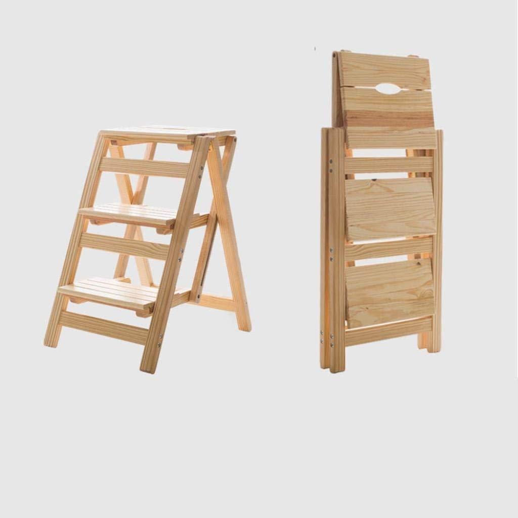 無垢材ホーム多機能折りたたみ梯子椅子屋内モバイル屋内クライミングラダーデュアルユース4ステップラダースツールクライミングラダー41×42×67センチ ZHUXUM (Color : Wood Color) B07STCKSTW Wood Color