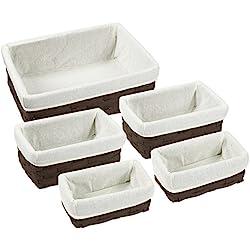 Nesting Basket - Utility Storage Baskets - 5 Piece Set - Various Sizes - Shades May Vary
