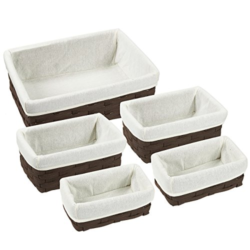Nesting Basket - Utility Storage Baskets - 5 Piece Set - Various Sizes - Shades May Vary (Wicker Bathroom Cabinets)