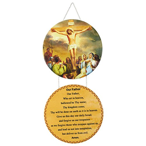 Juvale Christian Decorations - The Lord's Prayer Wall Hanging Sign, Religious Ornaments with Bible Verses for Home and Office, Perfect Housewarming Gift, 12.0 x 5.9 x 0.2 Inches