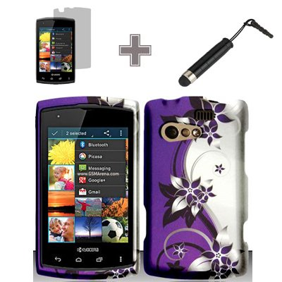 - Rubberized Purple Silver Vines flower Snap on Design Case Hard Case Skin Cover Faceplate with Screen Protector and Stylus Pen for Kyocera Rise C5155 - Virgin/Sprint