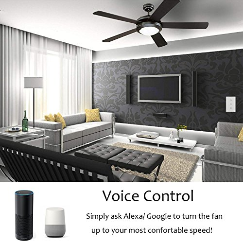 Cool Auto Smart Fan Speed Control Compatible with Alexa and Google  Assistant, IFTTT, WiFi Enabled Variable Ceiling Fan Switch, in Wall, Touch  Panel,