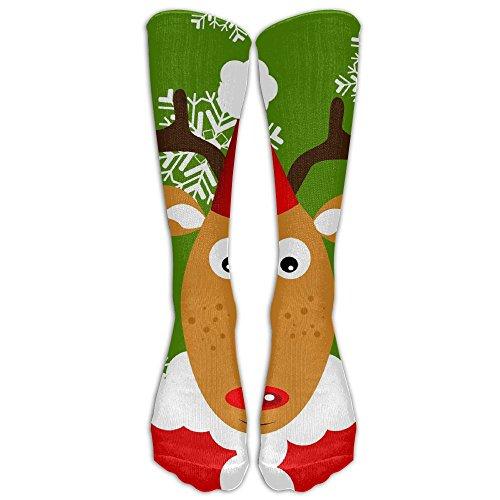 DaSOC Reindeer In Santa Suit Unisex Novelty Long Socks Athletic Tube Stockings Size (Santa Suit To Buy)