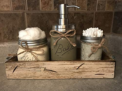 Ball Mason Jar BATHROOM SET in Antique WHITE Tray ~Cotton Ball Soap Dispenser Q-Tip Holder ~Canning JARS PAINTED Distressed Pint ~Stainless Steel Silver ~Accessories ~Gray Blue Pewter Green Cream Tan